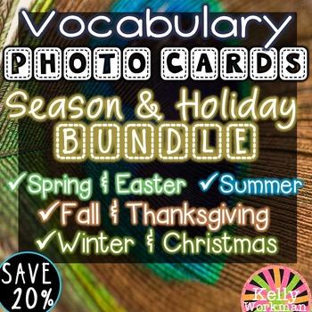 Seasons and Holidays Vocabulary Photo Flashcards Bundle
