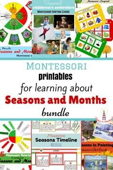 Seasons and Months Montessori Printables Bundle in Russian
