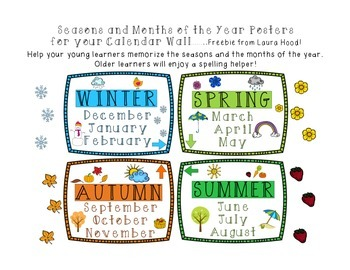 Seasons and Months of the Year Posters