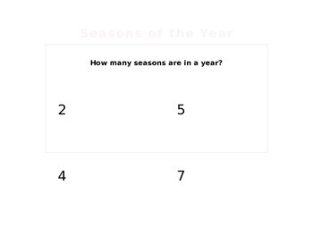 Seasons of the Year Interactive Powerpoint 2