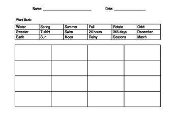 Seasons unit - Bingo card with answer sheet