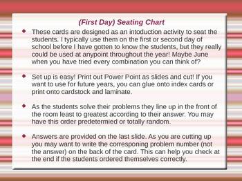 Seating Chart using Algebra 1 Equations