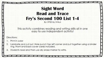 Second 100 Sight Word Read and Trace