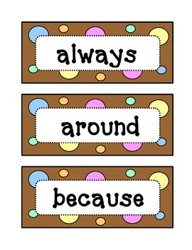 Second 2nd Grade Dolch Sight Word Wall - Dots & Pastel, Ch