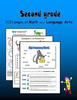 Second Grade:  100 pages of Math and Language Arts