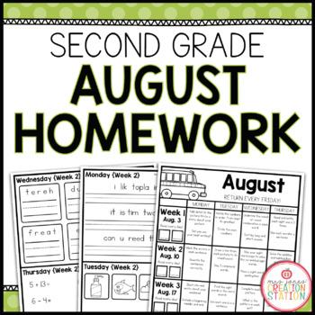 Second Grade AUGUST Homework
