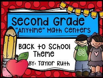 """Second Grade """"Anytime"""" Back To School Themed Math Centers"""