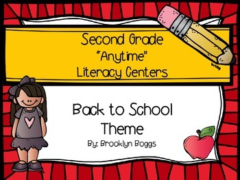 """Second Grade """"Anytime"""" Back to School Themed Literacy Centers"""