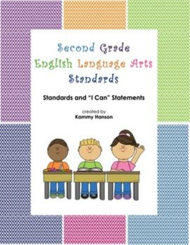 "Second Grade Color Coded Language Arts Standards and ""I Ca"