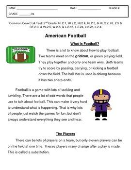 Second Grade Common Core ELA Football Test