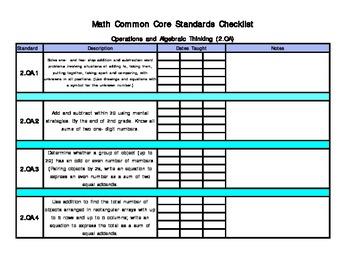 Second Grade Common Core Math Checklist