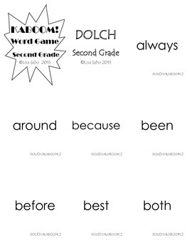Second Grade DOLCH Words Practice and Games
