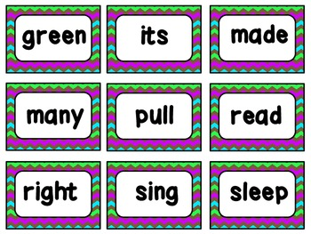 Second Grade Dolch Sight Words Cards: Chevrons