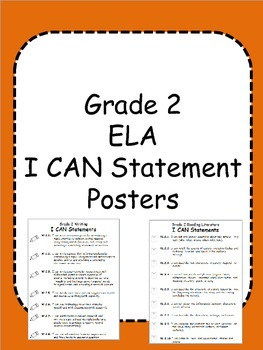 Second Grade ELA I Can Statement Posters