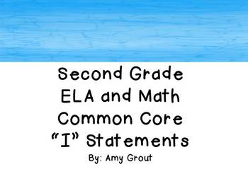 """Second Grade ELA and Math CCSS """"I Can"""" Statements: Beach-Themed"""