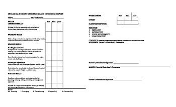 Second Grade ESL Progress Report Card