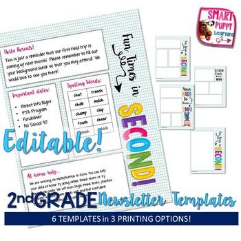 Second Grade Editable Newsletter Templates