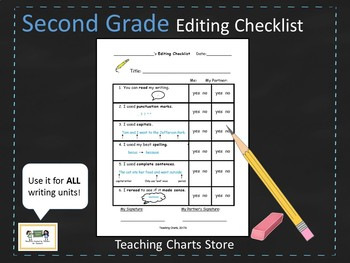 Second Grade Editing Checklist for Writing Workshop