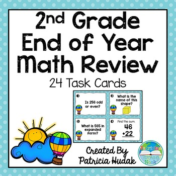Second Grade End of Year Math Review Task Cards