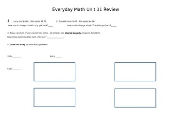 Second Grade Everyday Math Unit 11 Review