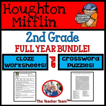 Houghton Mifflin Second Grade Full Year Cloze Worksheets a