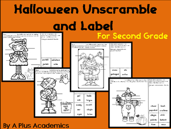 Second Grade - Halloween Unscramble and Label