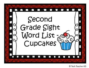 Second Grade High Frequency Words - Cupcake Theme