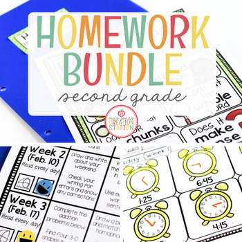 Second Grade Homework: MEGA-BUNDLE (Editable)