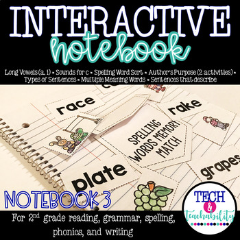 Second Grade Interactive Notebook Week 3: Long Vowels,Auth