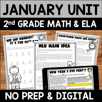 January Literacy and Math Bundle  for Second Grade