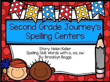 Second Grade Journey's Spelling Centers - Helen Keller