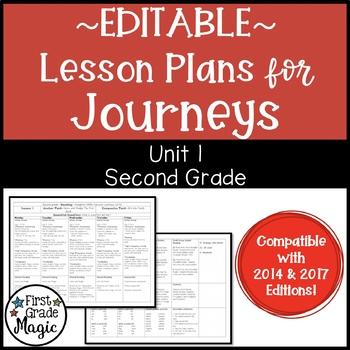 Second Grade Lesson Plans Journeys Unit 1 {EDITABLE!}