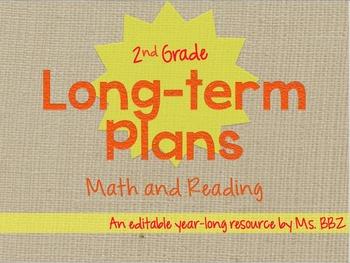 {Editable} BUNDLED Long Term or Year Long Plans For 2nd Gr