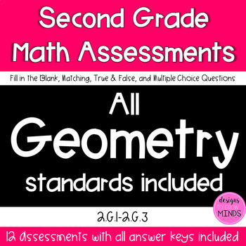 Second Grade Math Assessments- 2.G.1, 2.G.2, 2.G.3