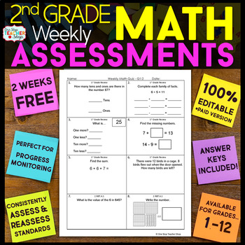 2nd Grade Math Assessments or Quizzes FREE