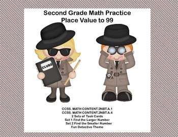 Second Grade Math Practice Task Cards Place Value to 99- 2 CCSS