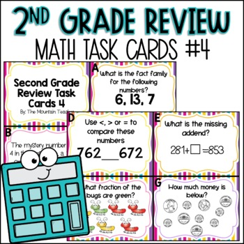 Second Grade Math Review Task Cards (set 4 of 5)