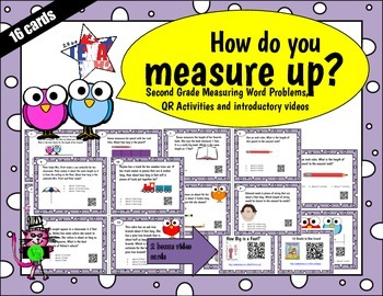 Measure length (INCHES) QR word problem task cards - Tek 2