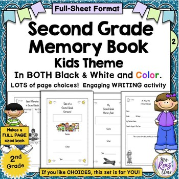 2nd Grade Memory Book (Owl Themed Color & BW Full Page Format)
