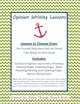 Opinion Writing Lessons for 2nd Grade