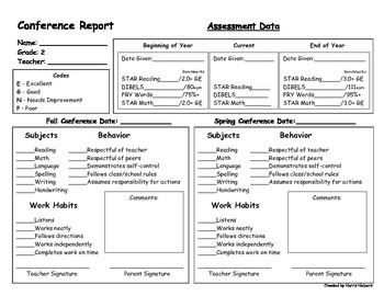 Second Grade Parent Conference Form