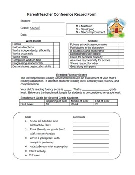 Second Grade Parent Teacher Conference Record