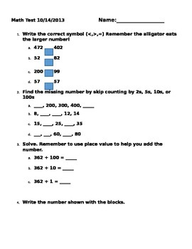 Second Grade Place Value Assessment