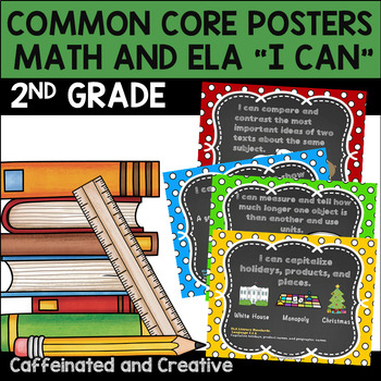 Second Grade Common Core Posters In Polka Dot and Chalkboard