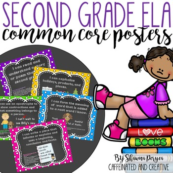 Second Grade ELA Common Core Posters in Polka Dot and Chalkboard