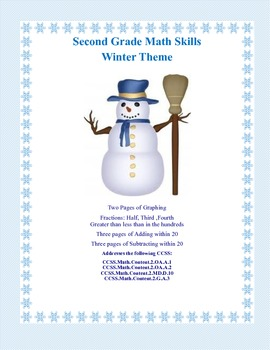 Second Grade Practice-Winter Themed Math Worksheets that a
