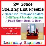 2nd Grade Spelling List , Spelling List, Writing Center, L