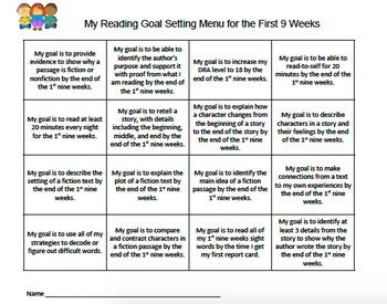 Second Grade Reading Goals Menu