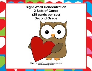 Second Grade Sight Word Printable Concentration Game-Valen