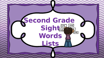 Second Grade Sight Words (6 lists) Word Cards and Practice pages